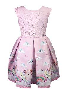 Vestido Infantil  Barrado com Estampa de Unicórnio