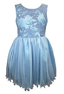Vestido Infantil Azul com peito bordado e com strass