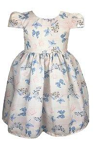 Vestido Infantil com Estampa de Pássaros e Laços