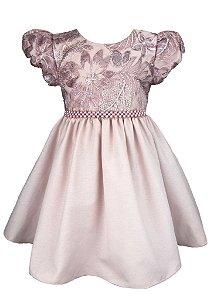 Vestido Infantil Rosê com peito de tule bordado