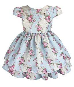 Vestido Infantil estampado com strass no peito