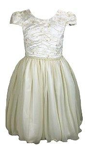 Vestido Infantil com peito de renda bordada com flores 3D