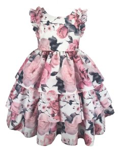 Vestido infantil estampado com babados