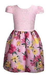 Vestido Infantil com saia c/ lista e estampas