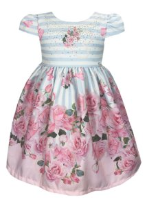 Vestido infantil com listas em azul e saia com barrado de rosas