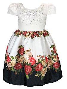 Vestido infantil com saia florida
