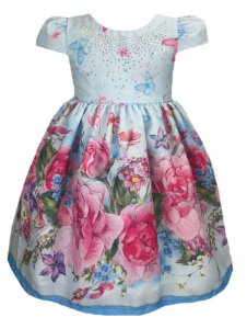 Vestido infantil borboletas e rosas