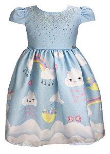 Vestido infantil azul chuva de amor