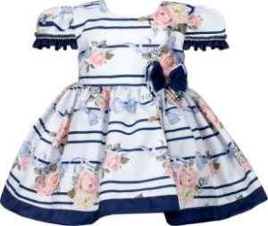 Vestido Infantil estampa de flores c/ listras