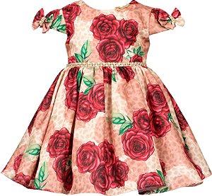 Vestido infantil estampa de onça e rosas