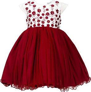 Vestido Infantil vermelho com bordada de flores 3D no peito