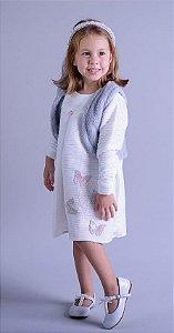 Vestido Juvenil com Colete de Pele Cinza