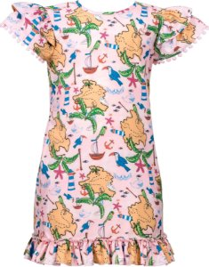 Vestido infantil com estampa de mapa
