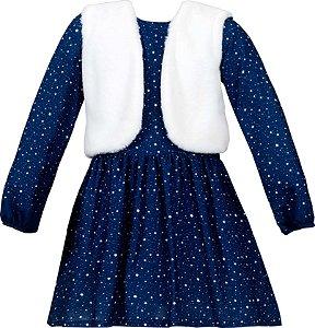 Vestido Juvenil azul com colete de pele