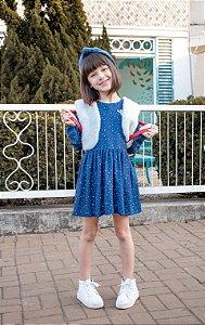 Vestido Teen azul com colete de pele