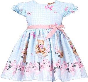 Vestido Bebê com Barrado de Urso