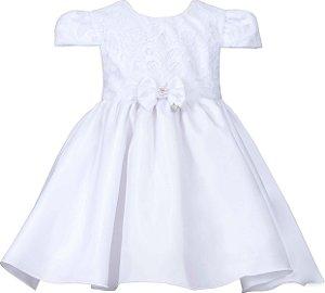 Vestido Bebê Branco com Peito Bordado