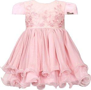 Vestido Bebê Rosa com Bordado no Peito