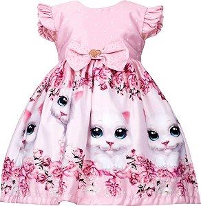 Vestido infantil Casual Barrado de Gato