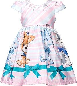 Vestido infantil com Barrado de Cachorros