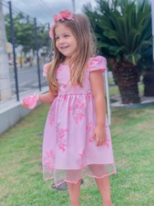 Vestido Infantil de Tule Bordado