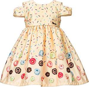 Vestido Infantil Casual Barrado de Rosquinhas