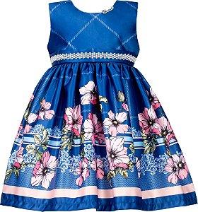 Vestido Infantil Azul com Barrado de Flores