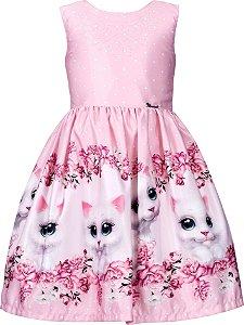 Vestido Juvenil com Barrado de Gato
