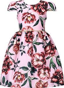 Vestido Juvenil Rosa Estampado