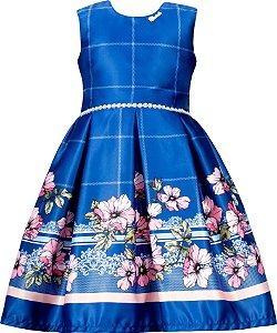 Vestido Juvenil Azul com Barrado de Flores