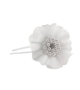 Tiara Infantil Branca com  Flor