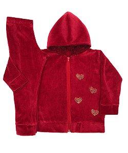 Conjunto Infantil de Plush Vermelho com Touca Pelo