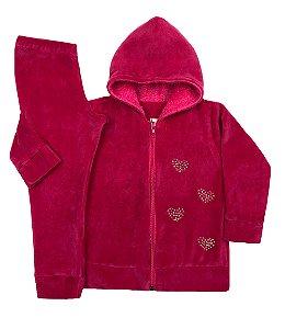 Conjunto Infantil de Plush Pink com Touca Pelo