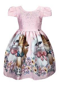 Vestido Infantil Gatinhos