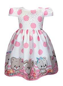 Vestido Infantil Ursos e Poá