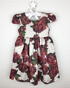 Vestido Infantil Floral Vermelho