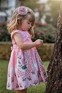 Vestido Infantil Floral com Poá
