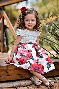 Vestido Infantil Peito Laise com Estampado Floral Vermelho