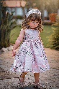 Vestido Infantil Floral Rosê