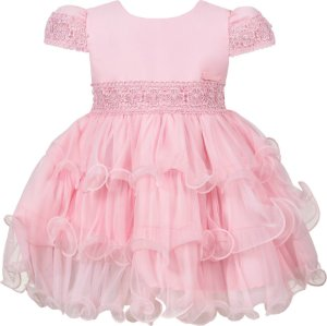 Vestido Bebê Rosa com Babados