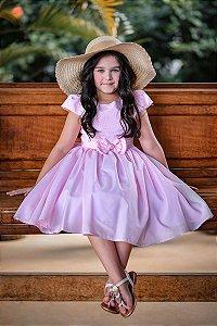 Vestido Teen Rosa com Laço