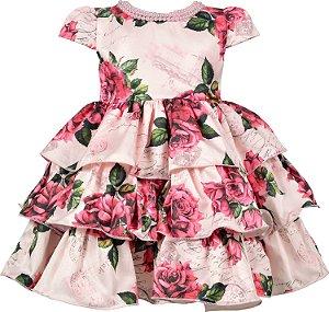 Vestido Bebê com Colar de Pérolas