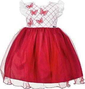Vestido Infantil Vermelho com Borboletas