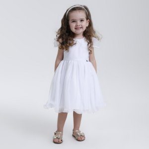 Vestido Infantil Branco com Pérolas na Manga