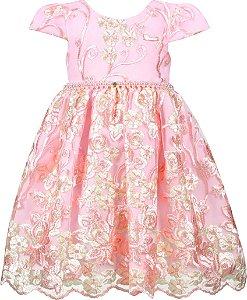 Vestido Infantil Festa Luxo Rosa