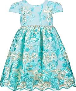 Vestido Infantil Festa Luxo Verde