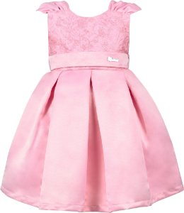 Vestido Infantil Saia Pregas Rosa