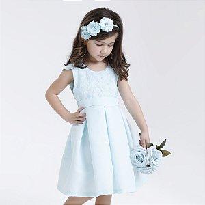 Vestido Infantil Saia Pregas Verde