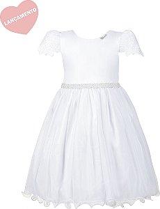 Vestido Juvenil Branco com Manga Bordada