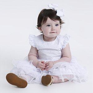 Vestido Bebê Batizado com babados